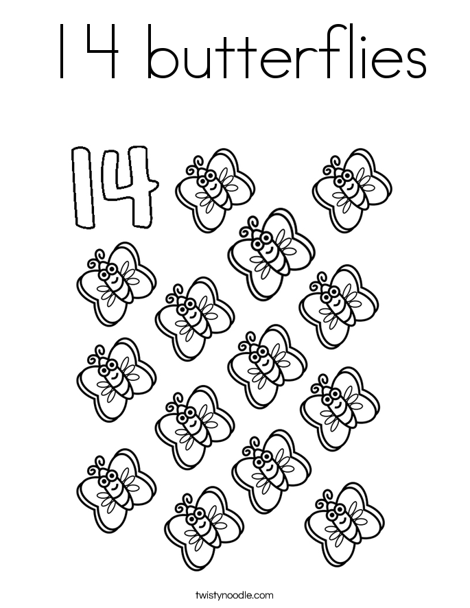Number 14 Coloring Page Coloring Home – Number 14 Worksheets