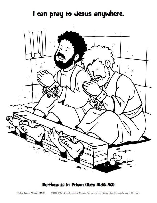 Paul And Silas In Jail Free Coloring Page