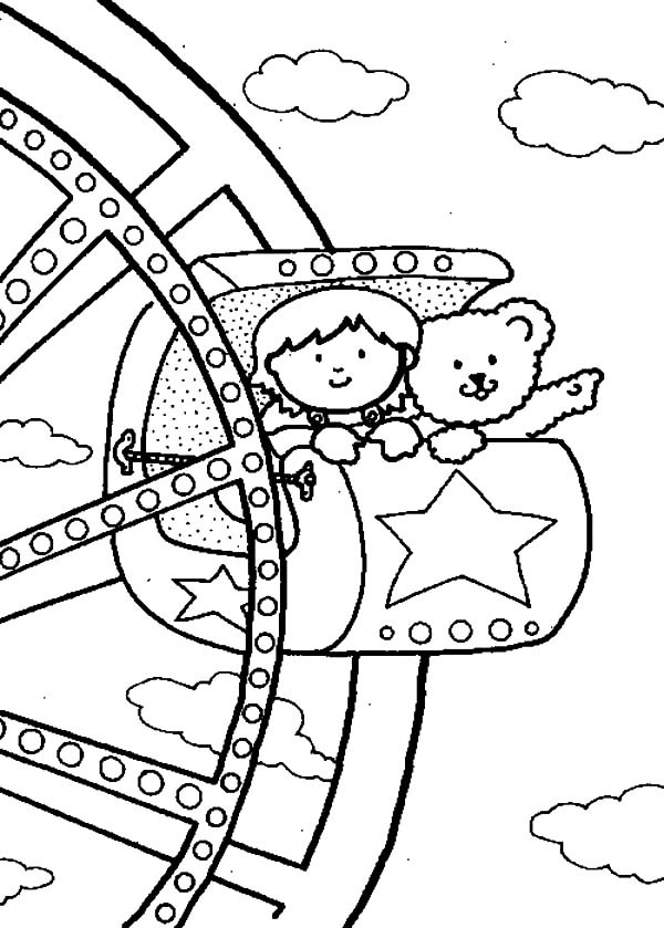 Ferris wheel coloring pages coloring pages for Wheel coloring page
