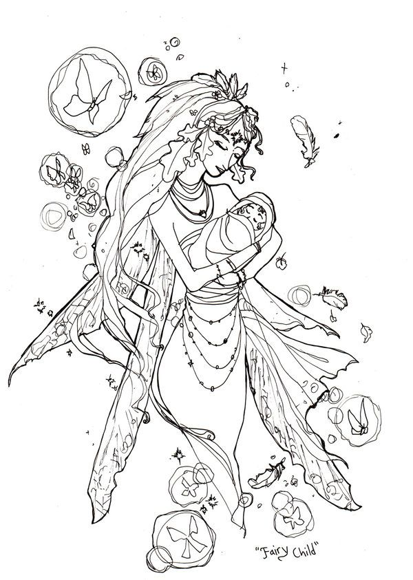 Adult Fairy Coloring Page - Coloring Home