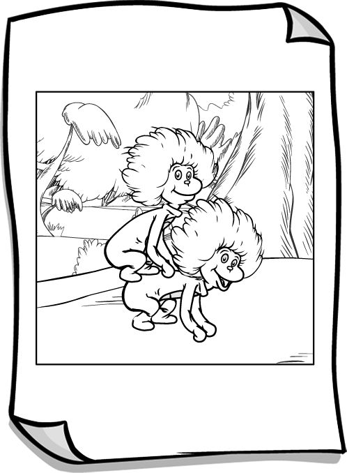 Two coloring pages in one ~ Thing 1 And Thing 2 Coloring Pages Free - Coloring Home