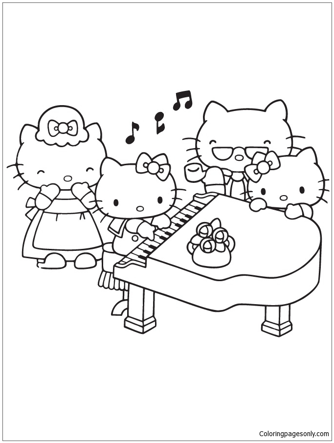 Hello Kitty Playing Piano With Family Coloring Page - Free ...