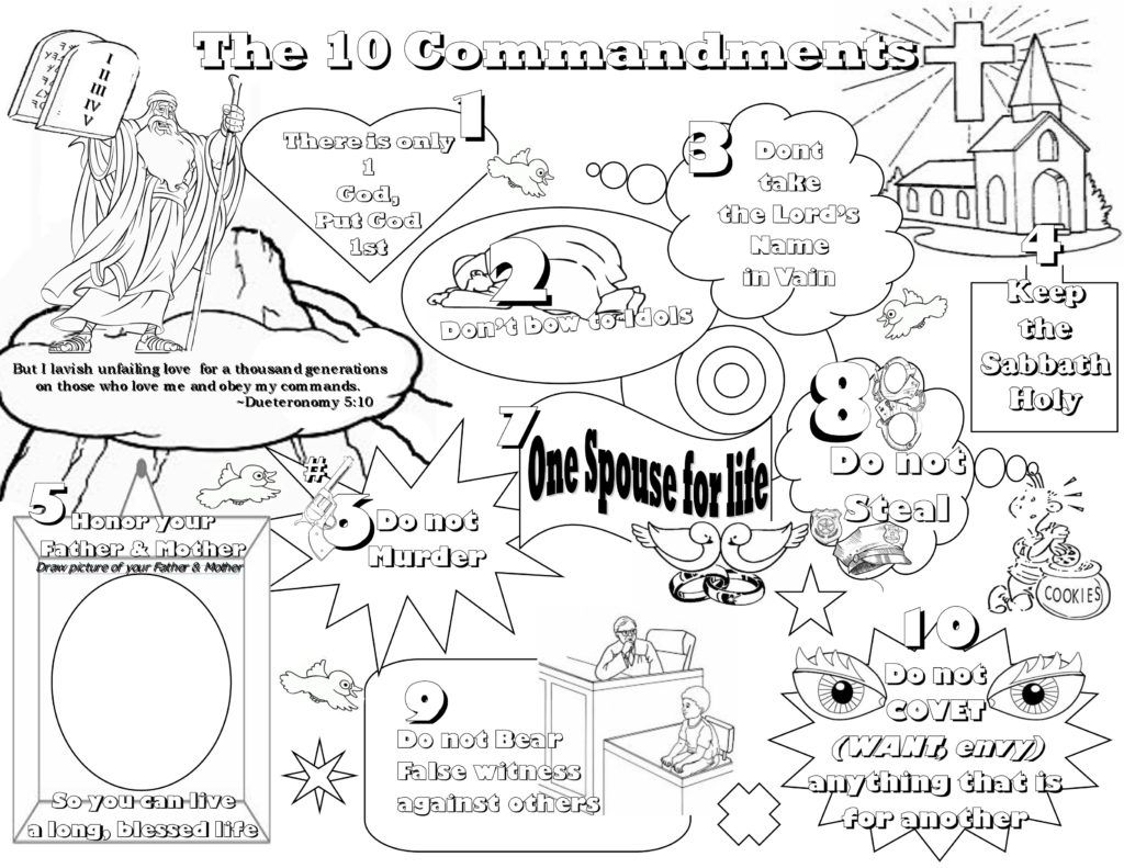 Thou Shalt A Graven Image Coloring Page Ten Commandment Exodus ...