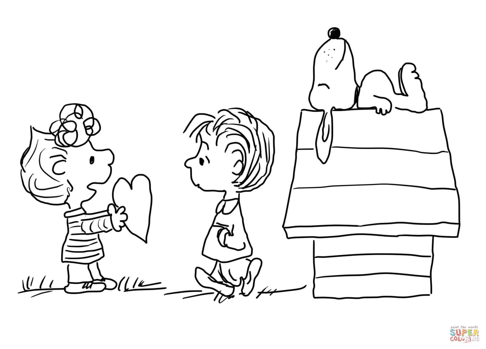 Snoopy Valentine Coloring Pages - Coloring Home