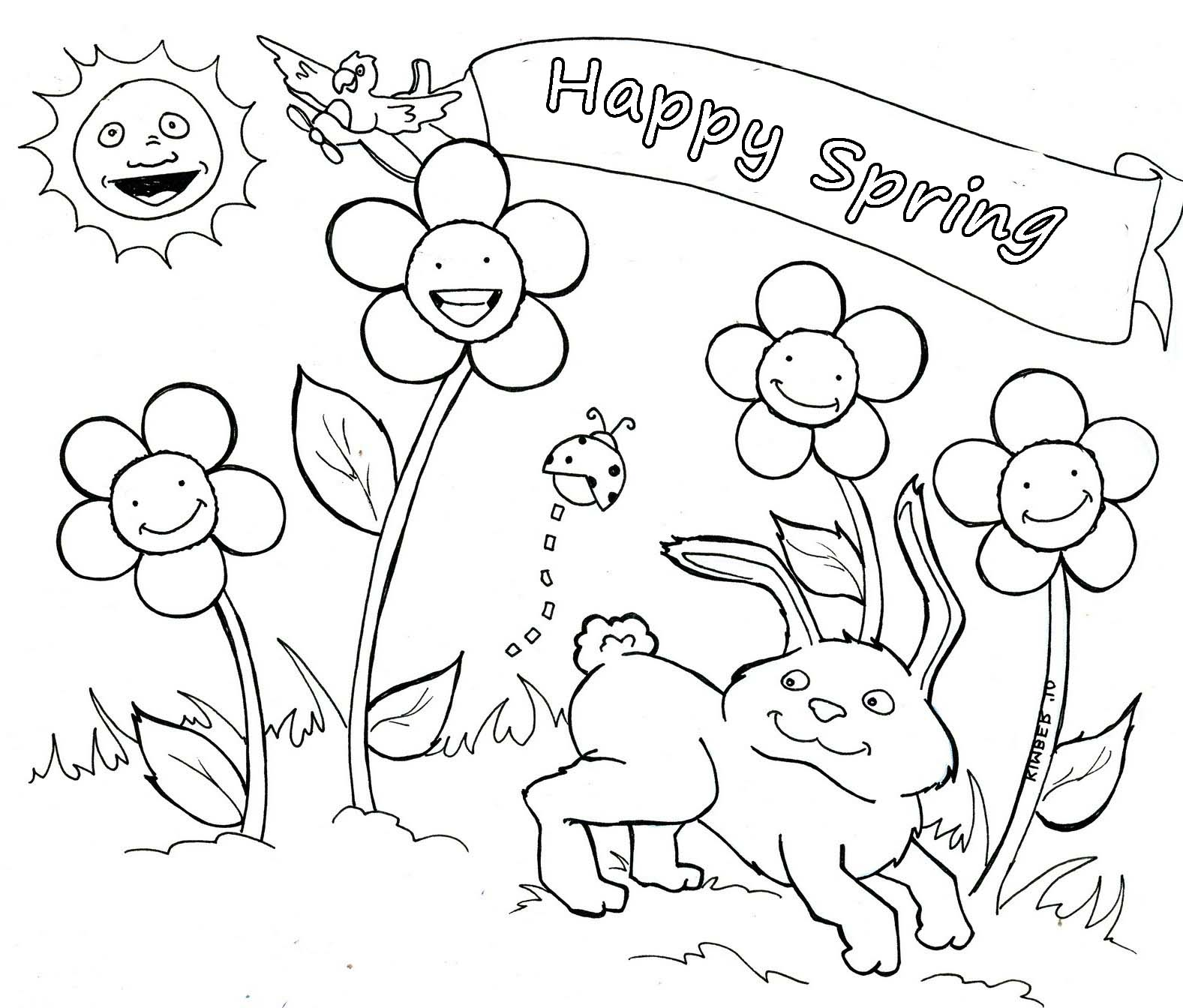 Coloring pages free for kids spring time coloring home for Welcome spring coloring pages