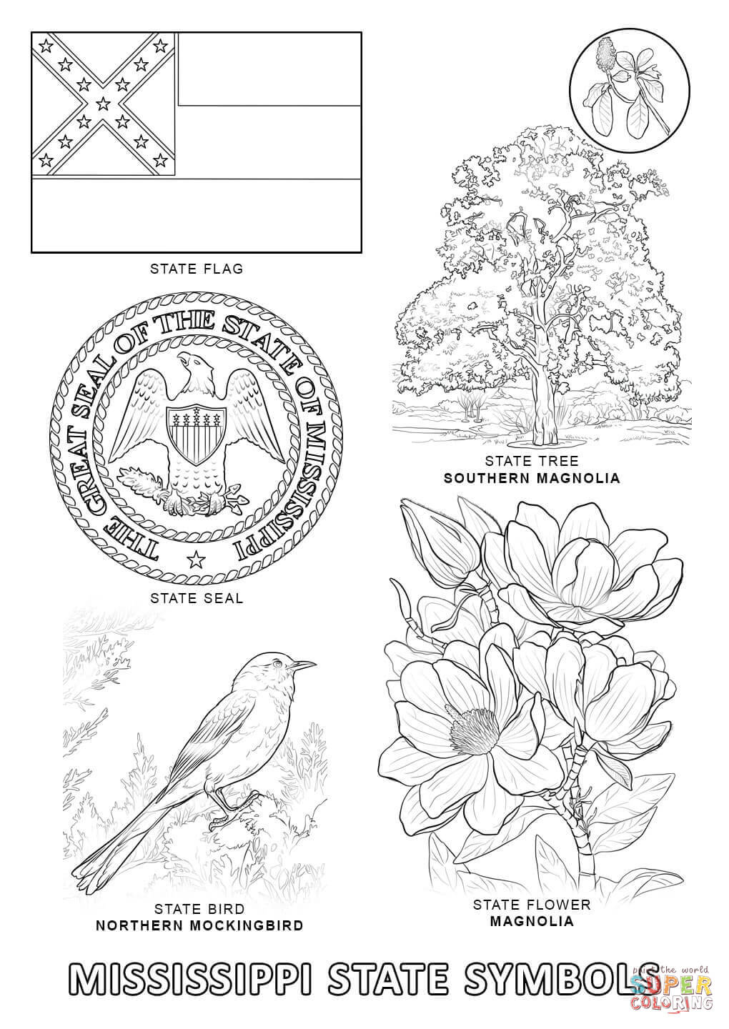 Mississippi State Symbols coloring page | Free Printable Coloring ...