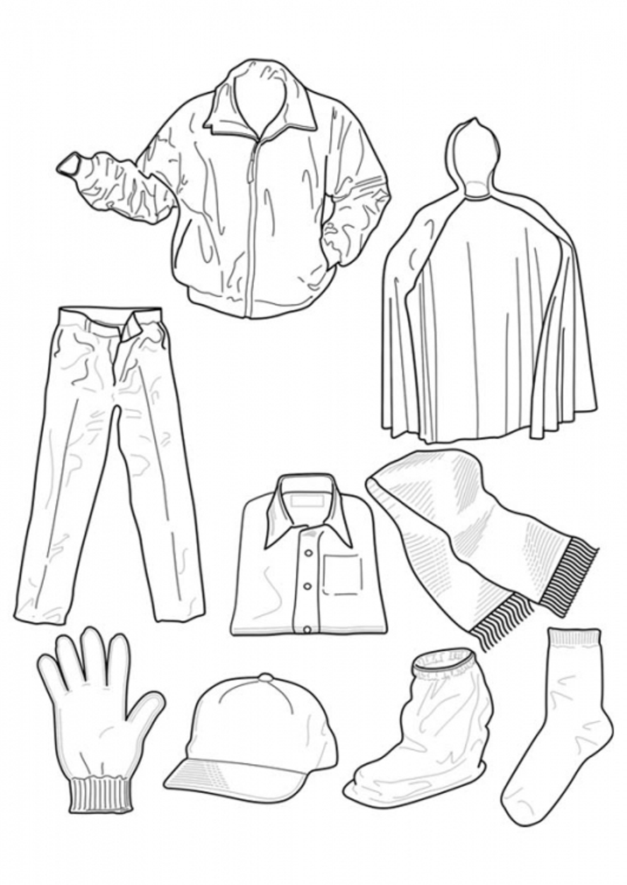 Coloring page of winter clothes coloring home for Clothing coloring page