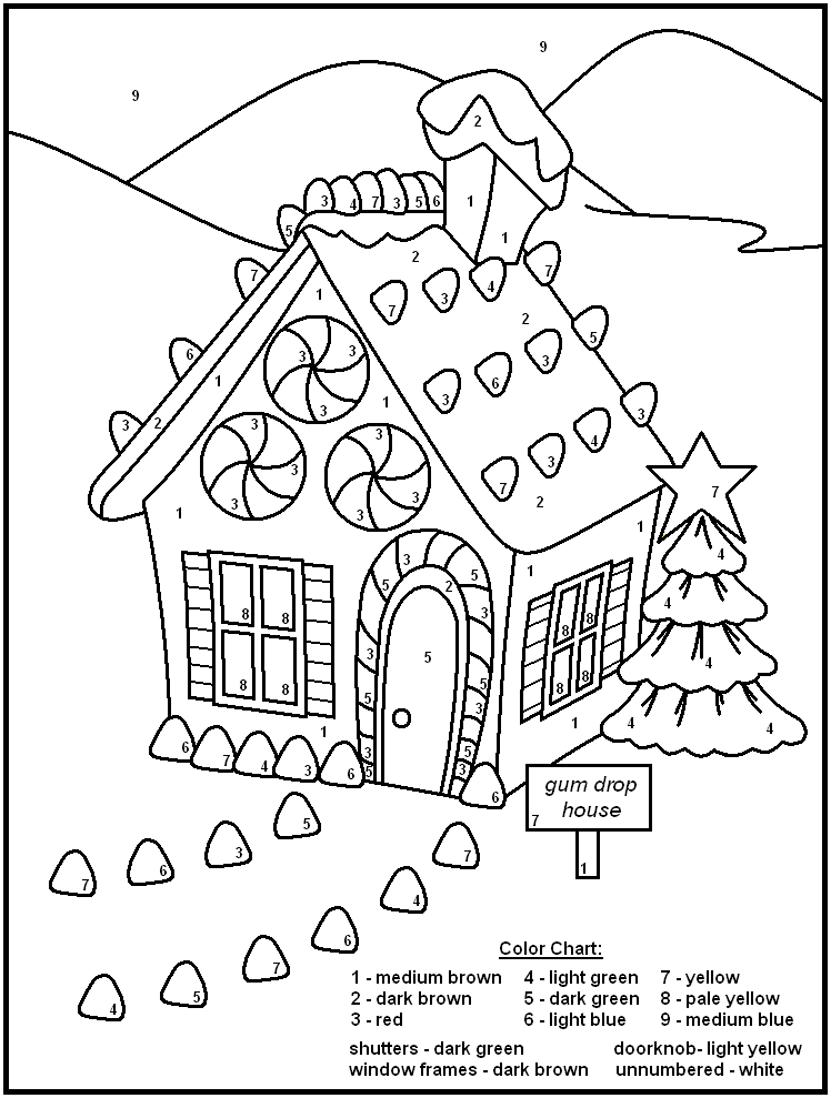 Christmas Color By Number - Coloring Pages for Kids and for Adults