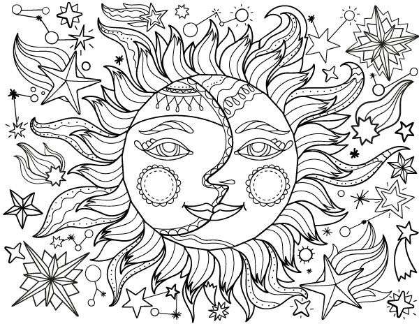 Free printable sun and moon adult coloring page. Download it in ...