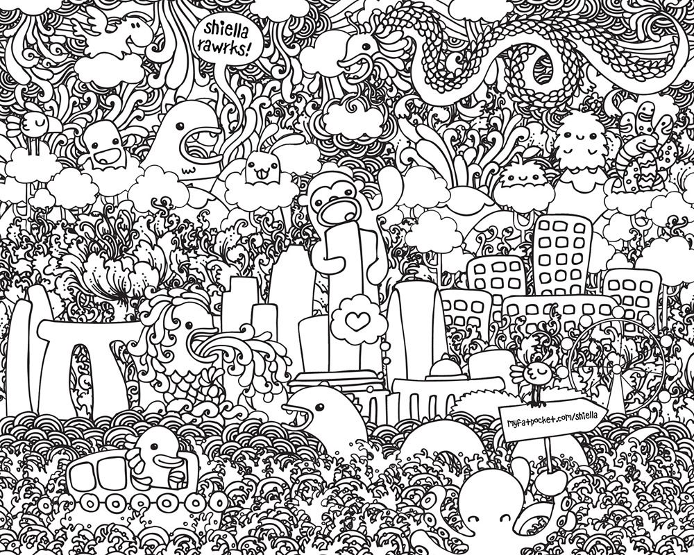 Doodle Art Printables - Coloring Pages for Kids and for Adults