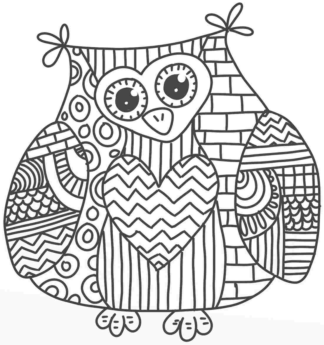 Cute owl coloring pages coloring home for Free coloring pages for adults with dementia