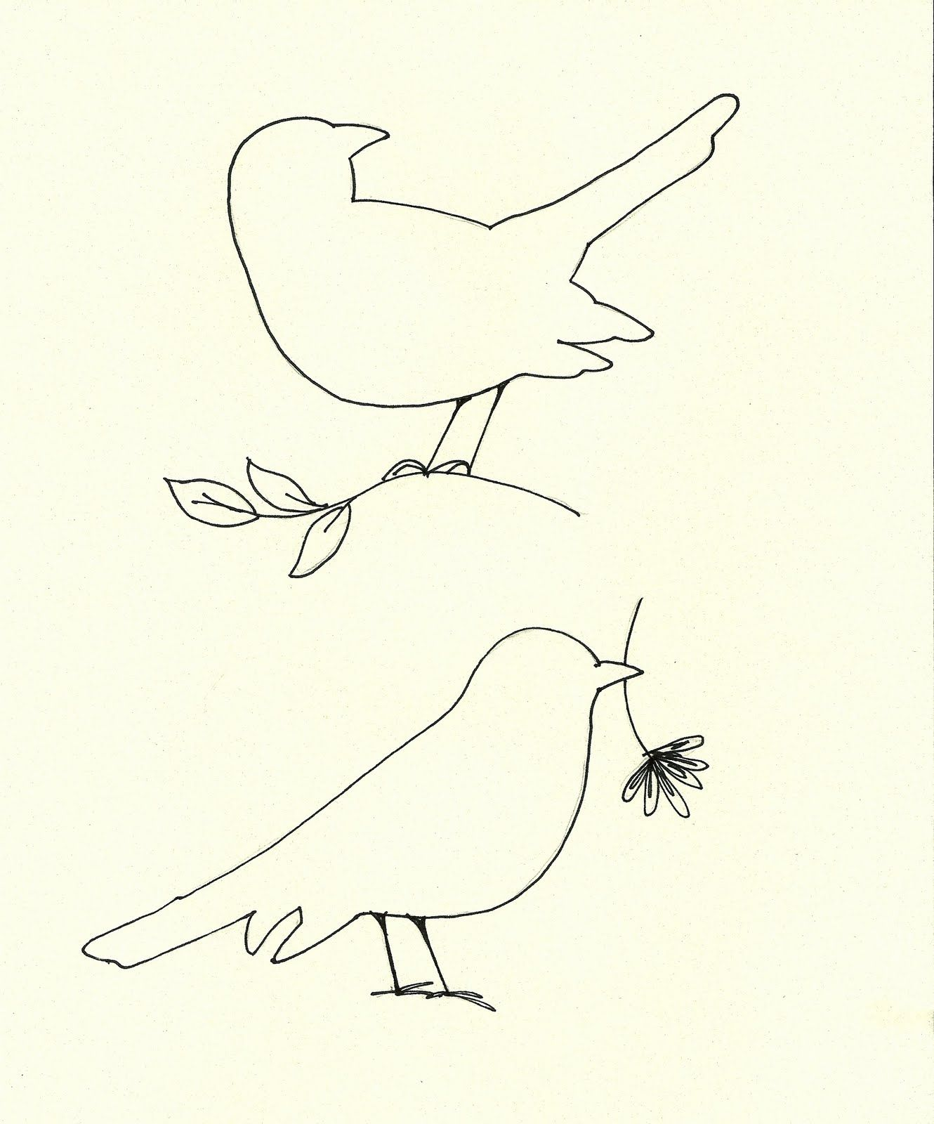 Pigeon Coloring Page To Print Out: Bird Cut Out Template