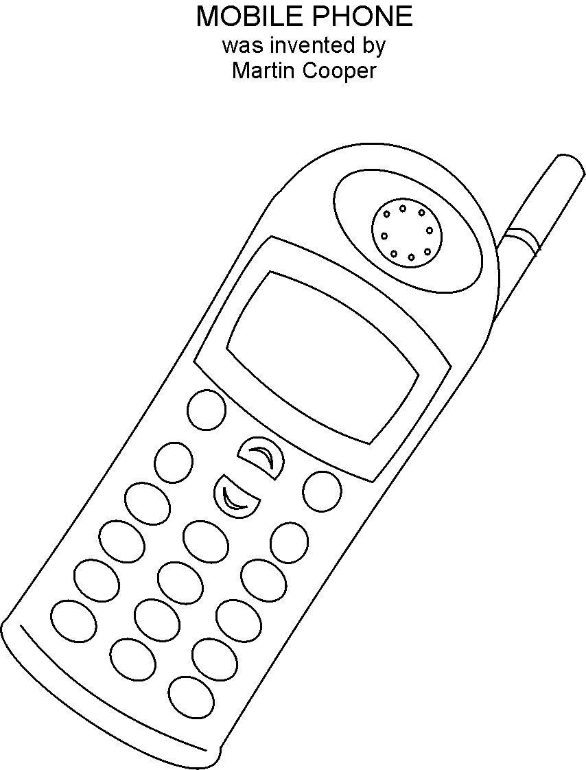 cell phone coloring pages