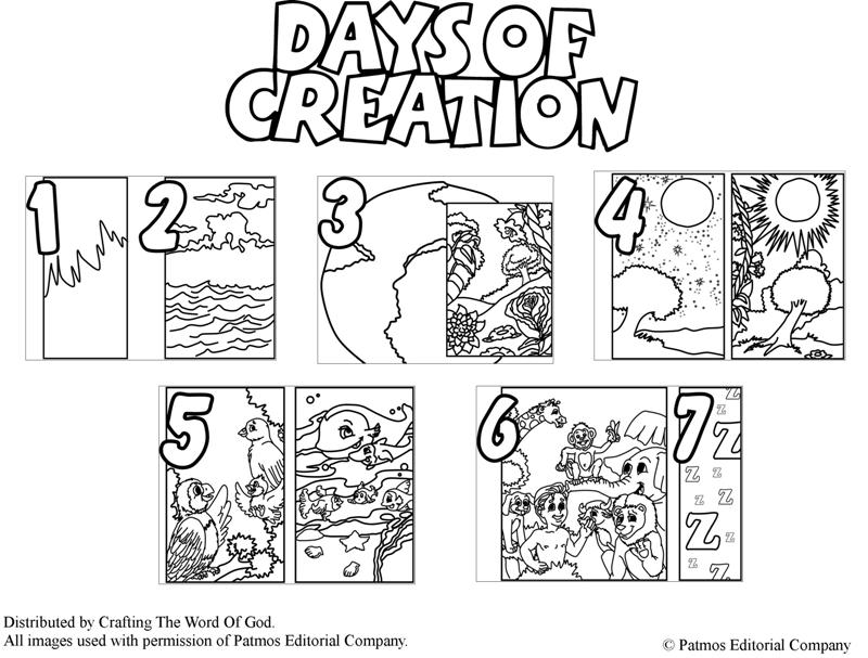 Days Of Creation  Coloring Pages For Kids And For Adults