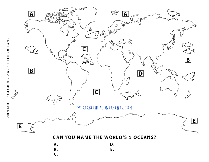 Printable 5 Oceans Coloring Map For Kids