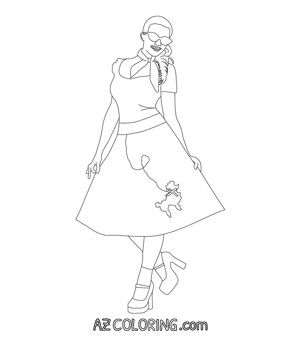 poodle skirt coloring pages - photo#4
