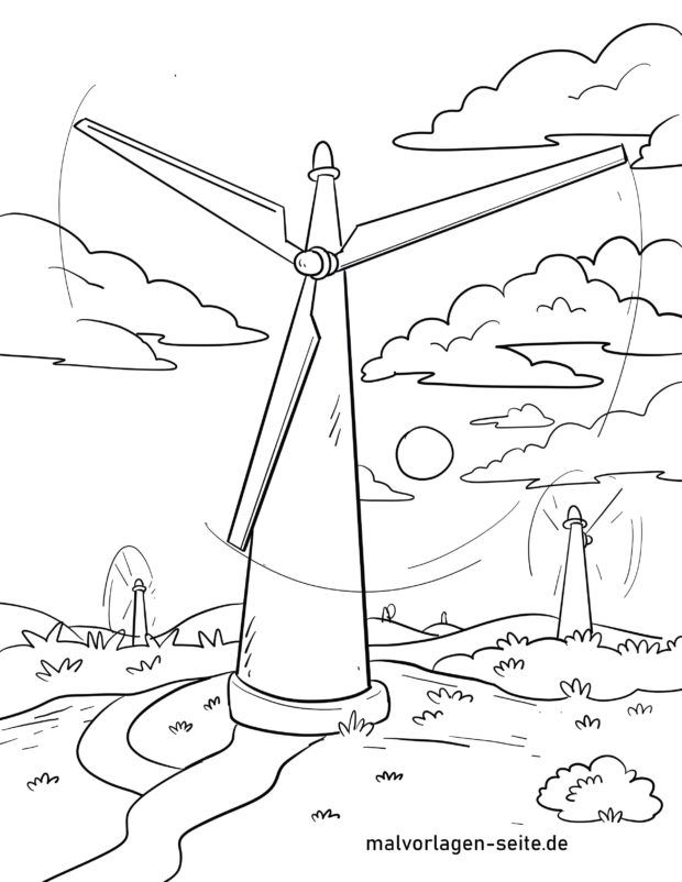 Coloring page wind turbine Energy environmental protection - Free coloring  pages