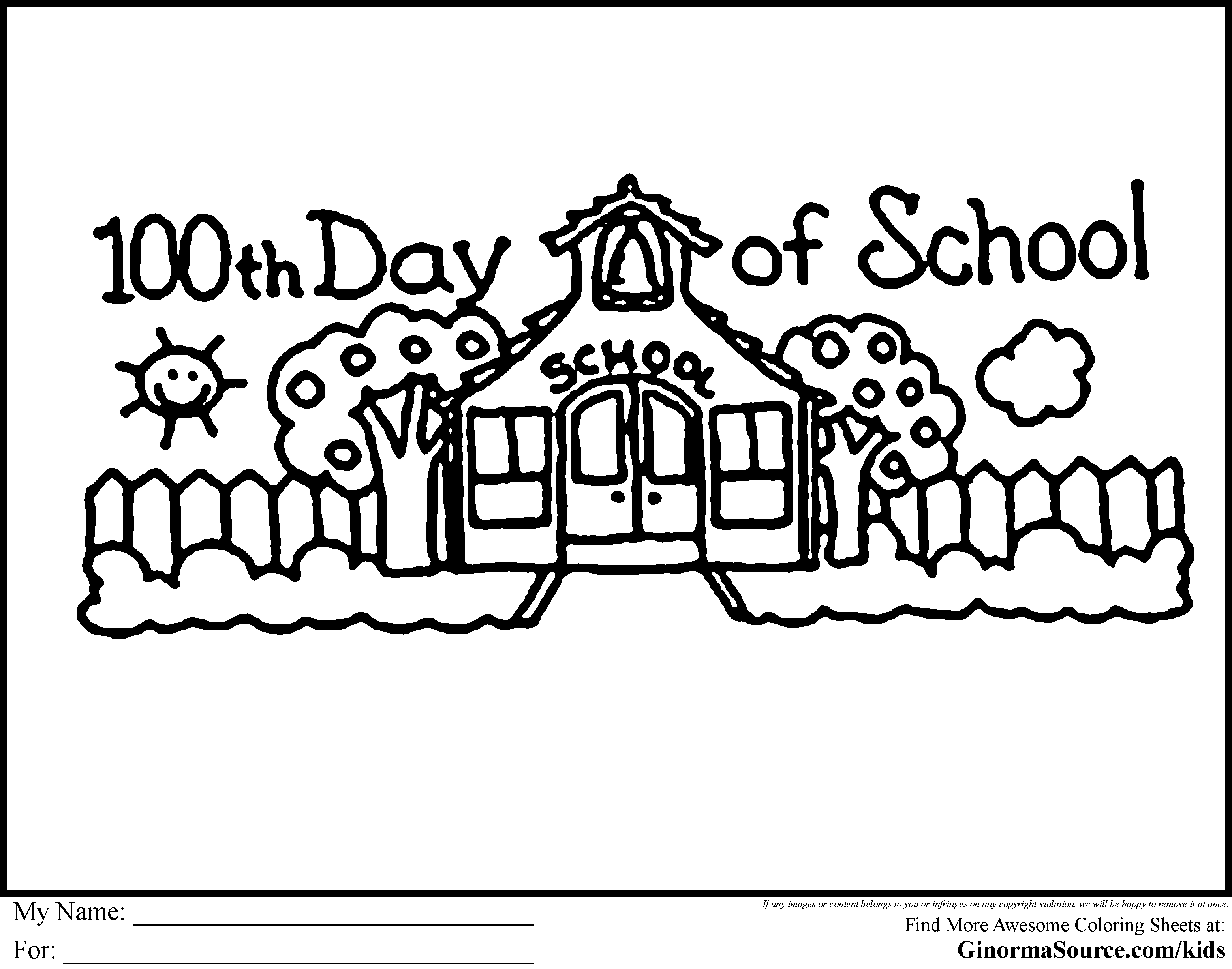 math worksheet : free coloring pages 100 day school  pages : 100th Day Of School Worksheets For Kindergarten