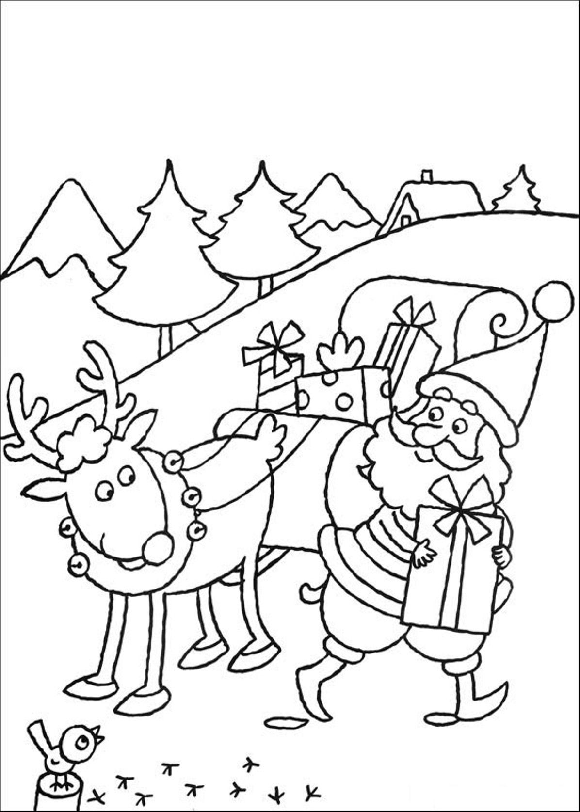 Rudolph Reindeer Coloring Page Santa - Coloring Home