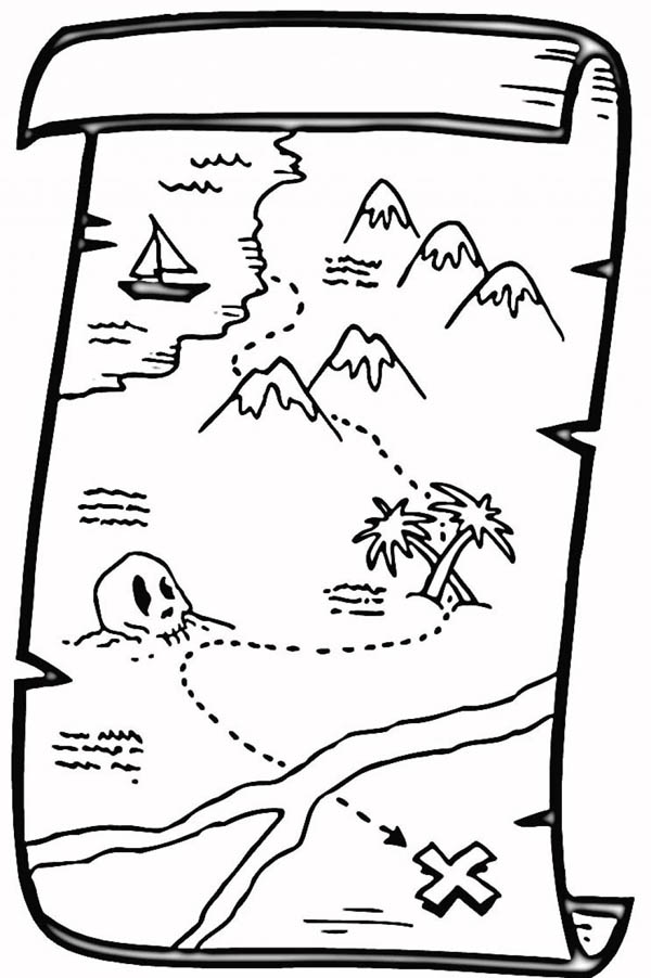 great pirate treasure map coloring page - Map Coloring Book