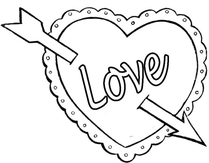 Coloring Pages Of Valentine Hearts