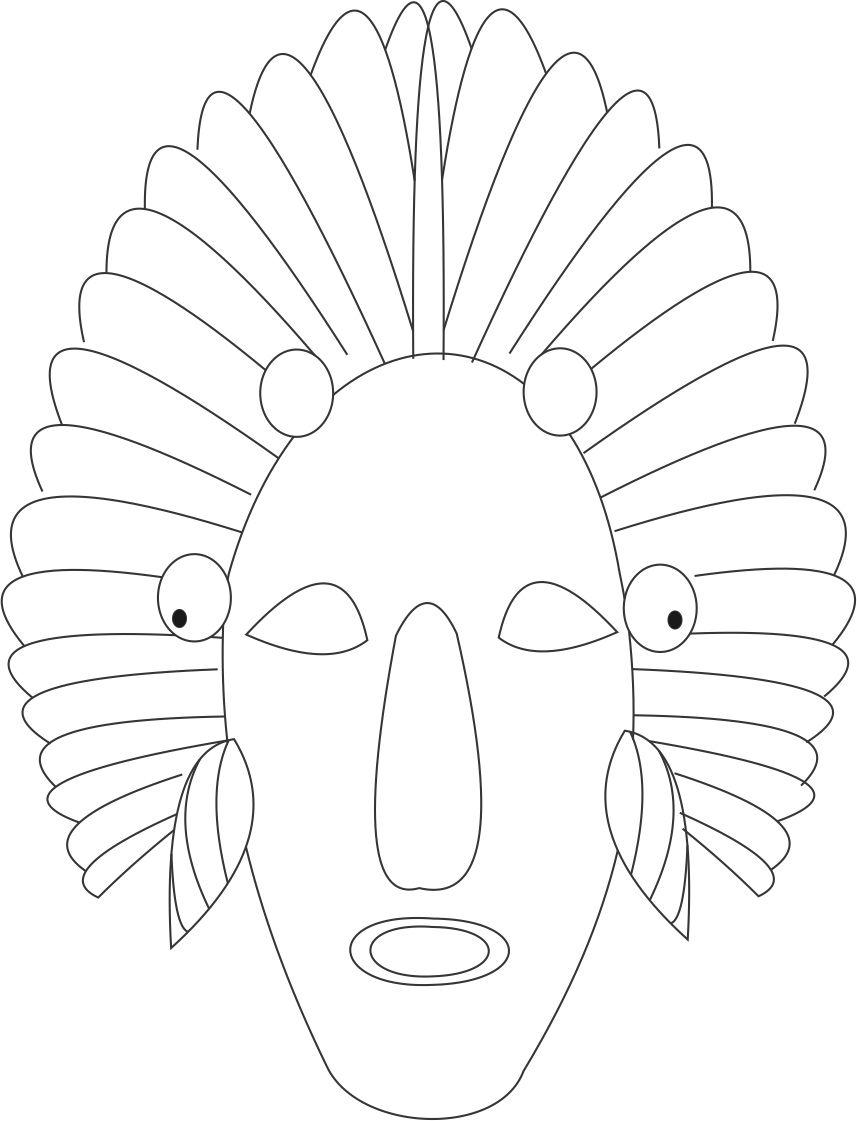 African Mask Coloring Page Coloring