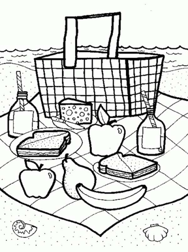 Picnic Coloring Pages Free