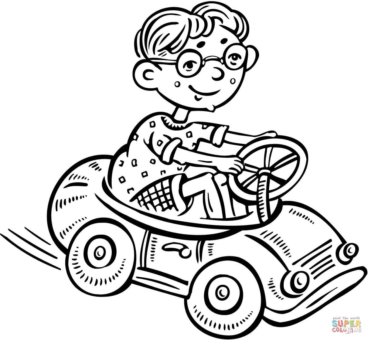 Coloring pages toy cars - Little Boy Driving A Toy Car Coloring Page Free Printable