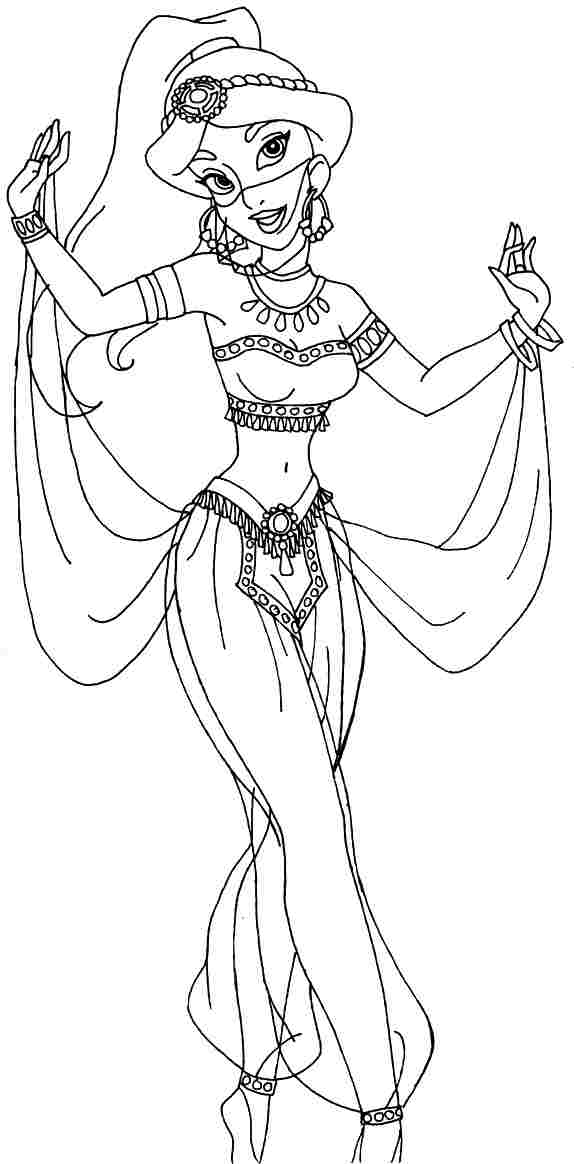 Раскраска принцесса жасмин картинки