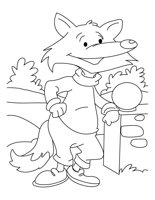 A dressed up fox waiting for someone coloring page | Download Free ...