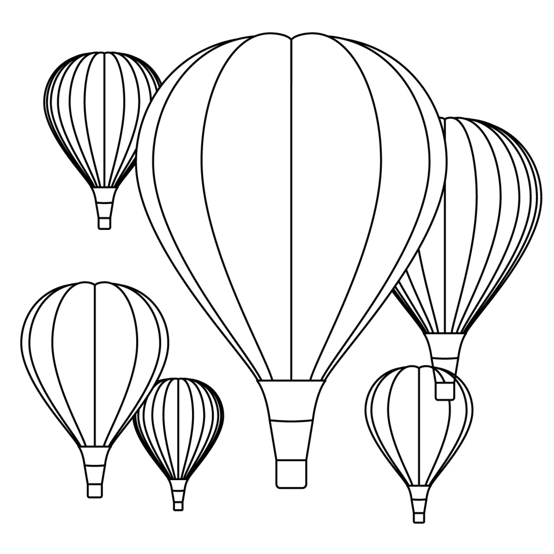 Hot Air Balloon Color Sheet Clipart - Free to use Clip Art Resource