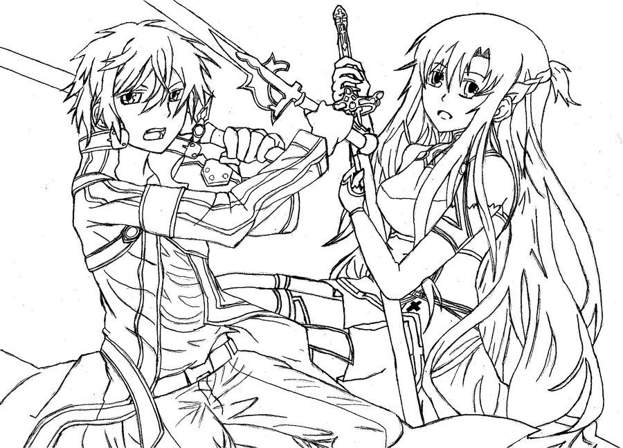 anime girl with swords coloring pages | 12 Pics Of Sword Art Online Anime Coloring Page - Sword ...