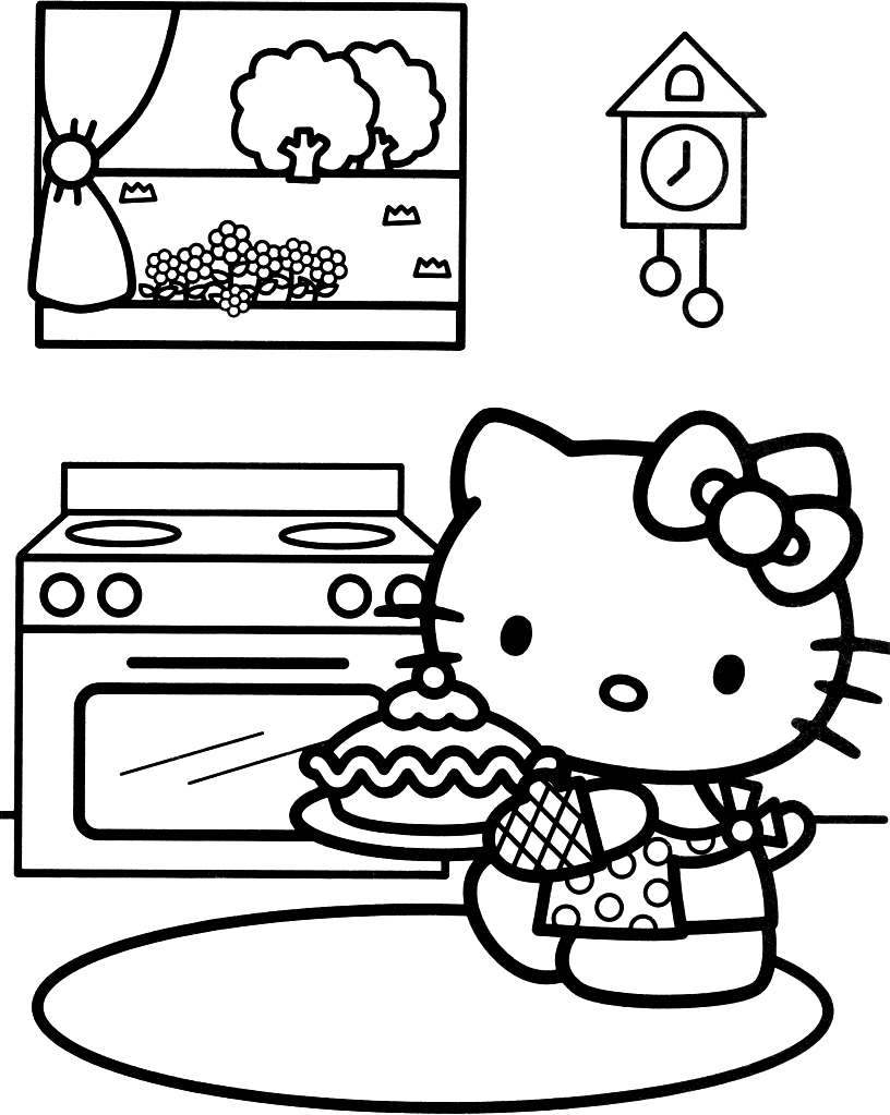 Hello Kitty Cycling Coloring Page