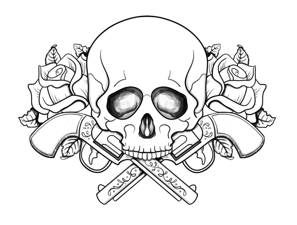 skull adult coloring pages - coloring home - Coloring Pages Roses Skulls