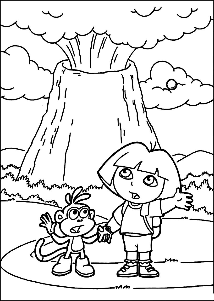Coloring pages volcano
