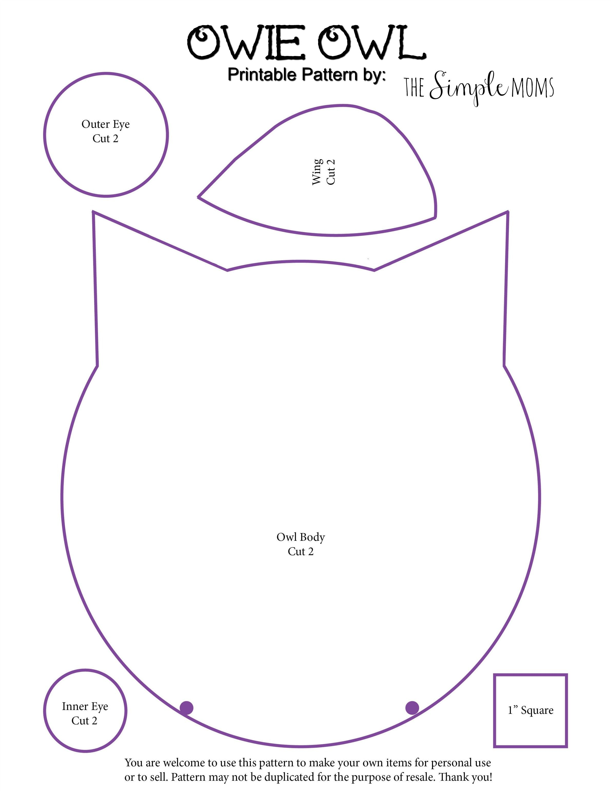 Printable owl pattern coloring home for Owl templates for sewing