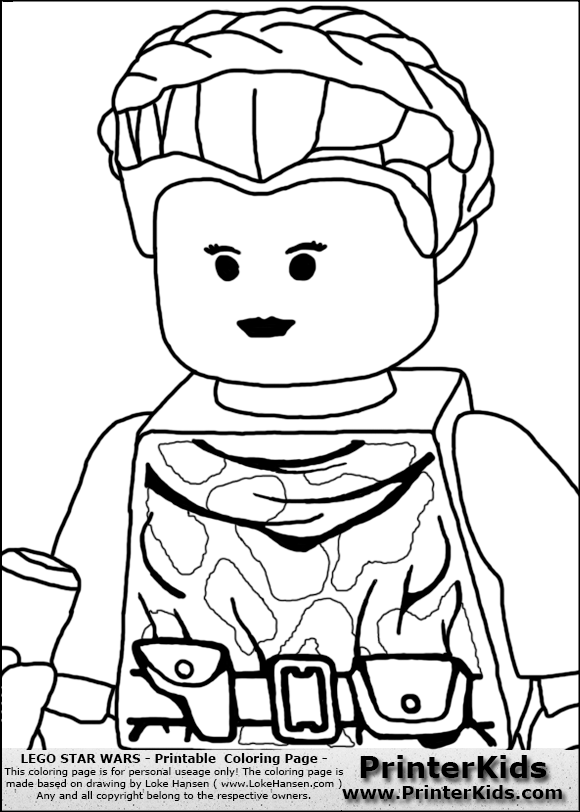 Lego Star Wars   Padme Amidala   Closeup Warrior   Coloring Page .