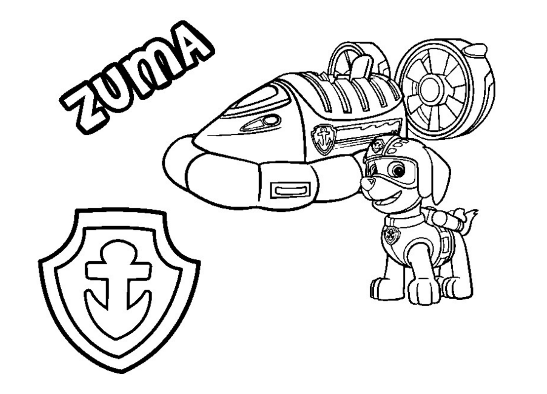PAW Patrol Coloring Page Zuma's Hovercraft Vehicle