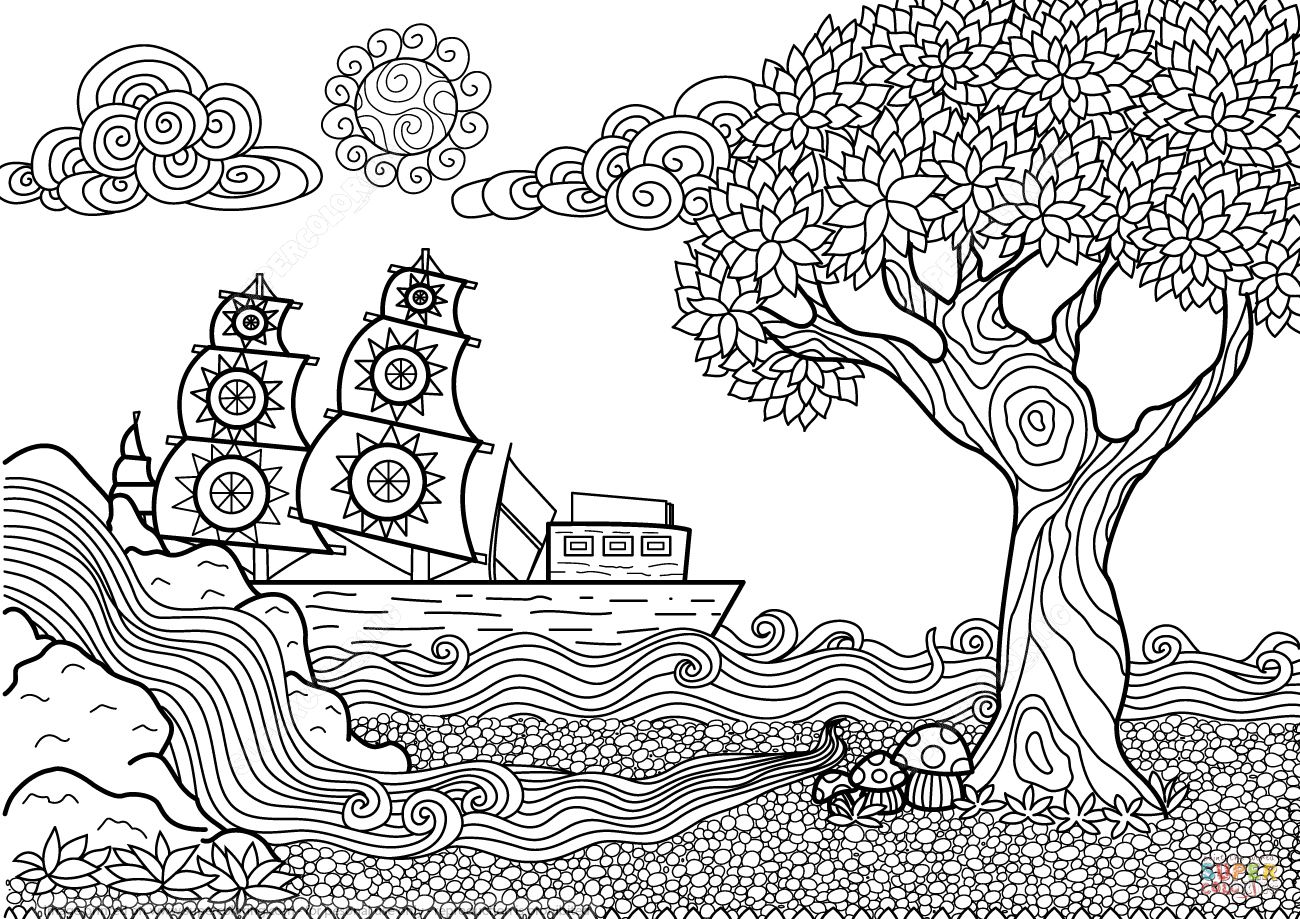 seascape zentangle coloring page free printable coloring pages - Zentangle Coloring Pages