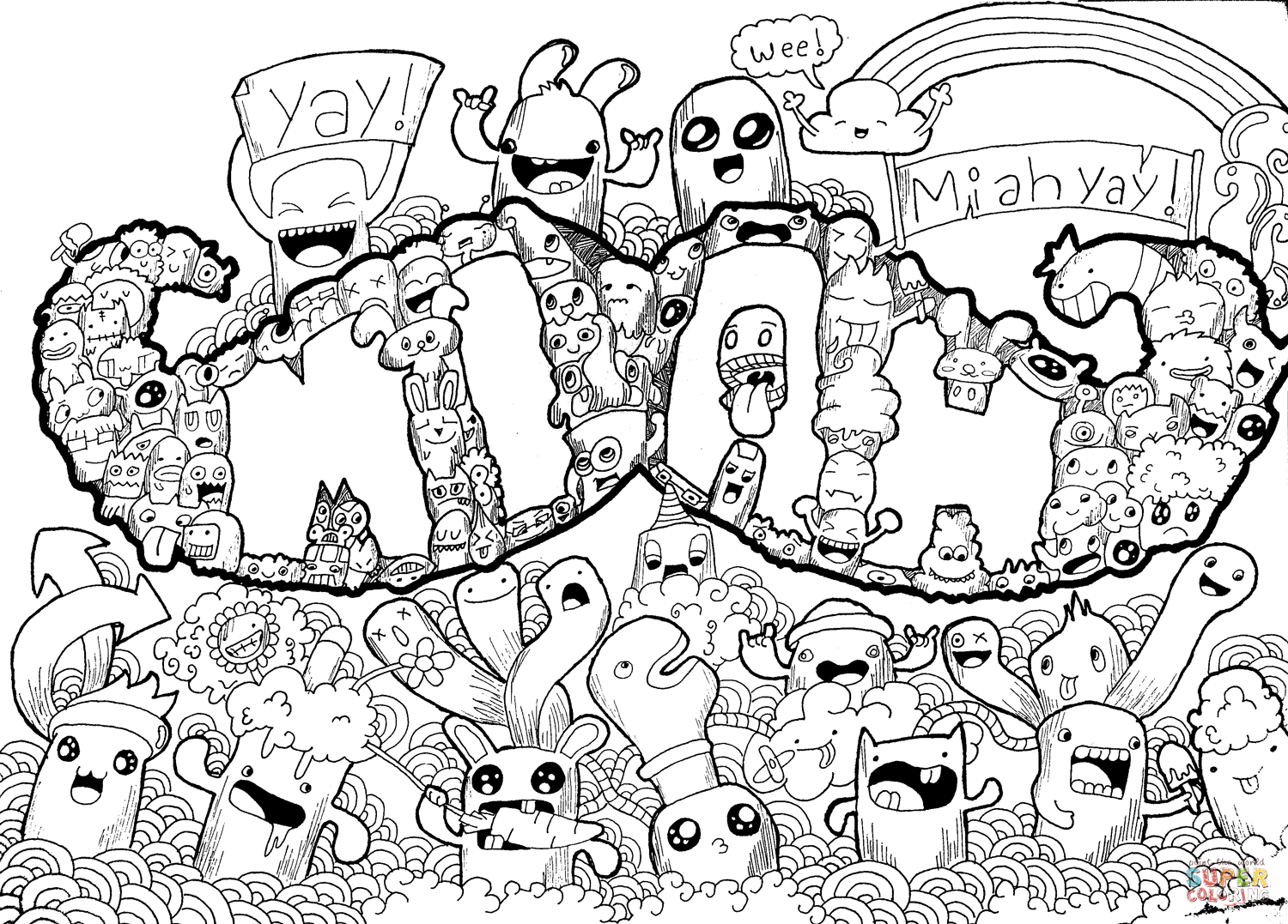 Doodle Coloring Pages For Kids - Coloring Home
