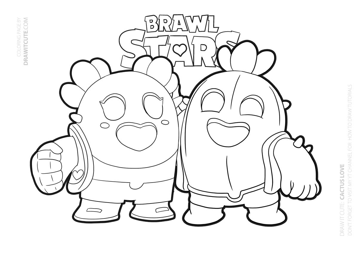 Cactus Love | Brawl Stars coloring page - Color for fun