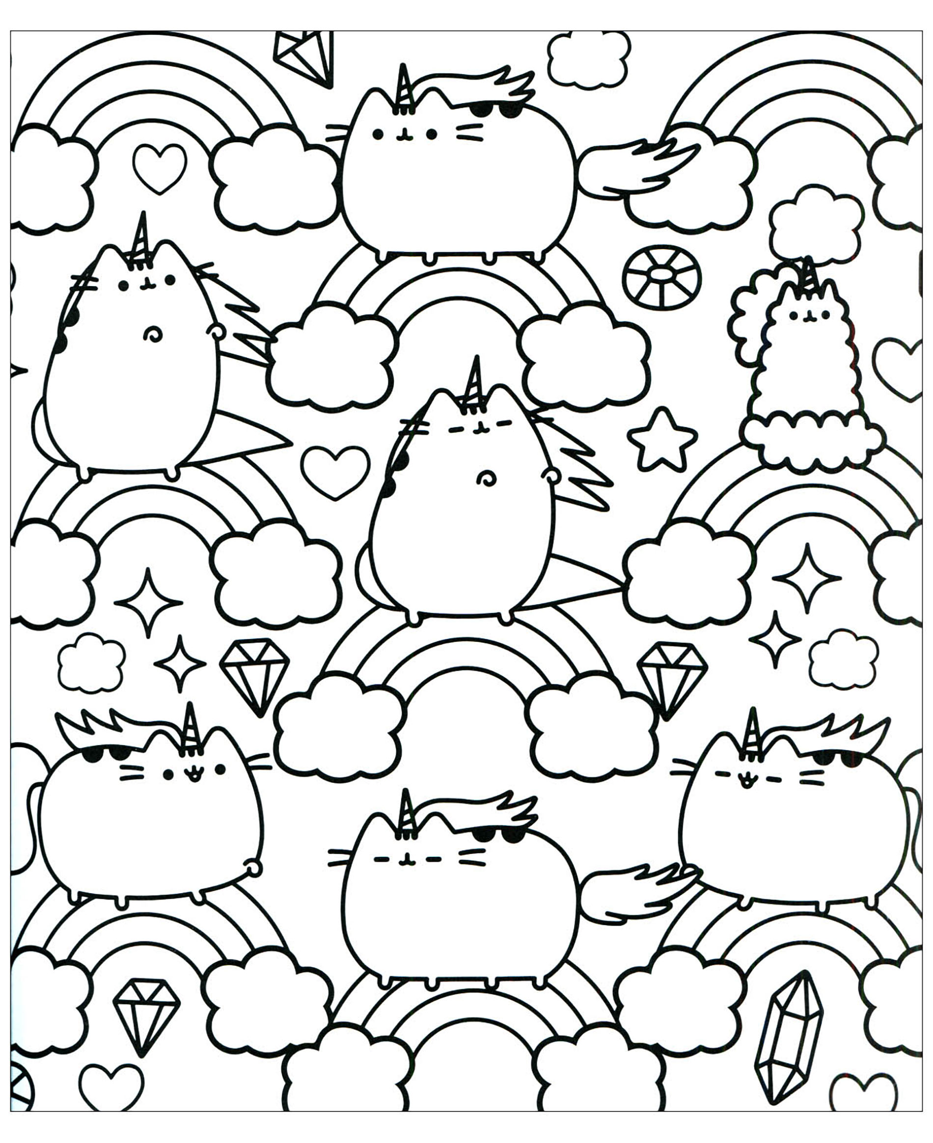 Pusheen to color for kids - Pusheen Kids Coloring Pages