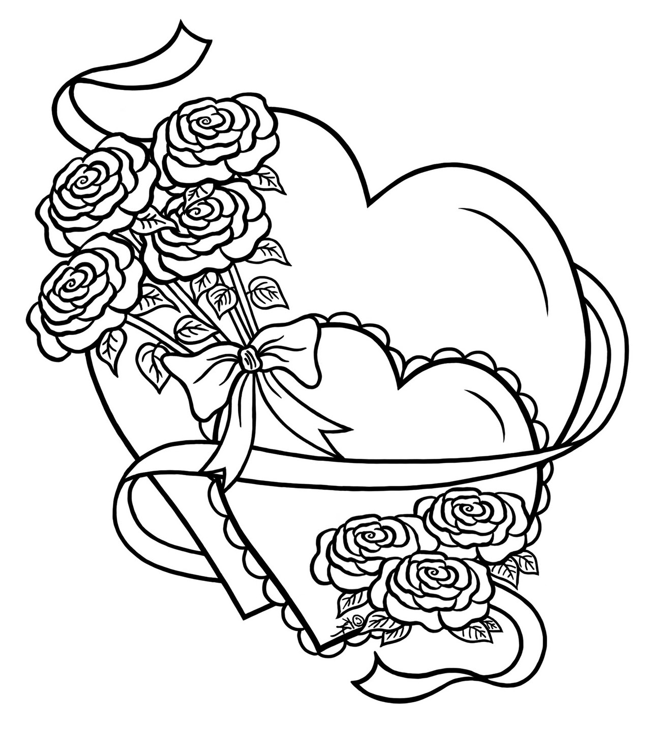 Coloring Book : Coloring Page Love Simple Heart With Flowers ...