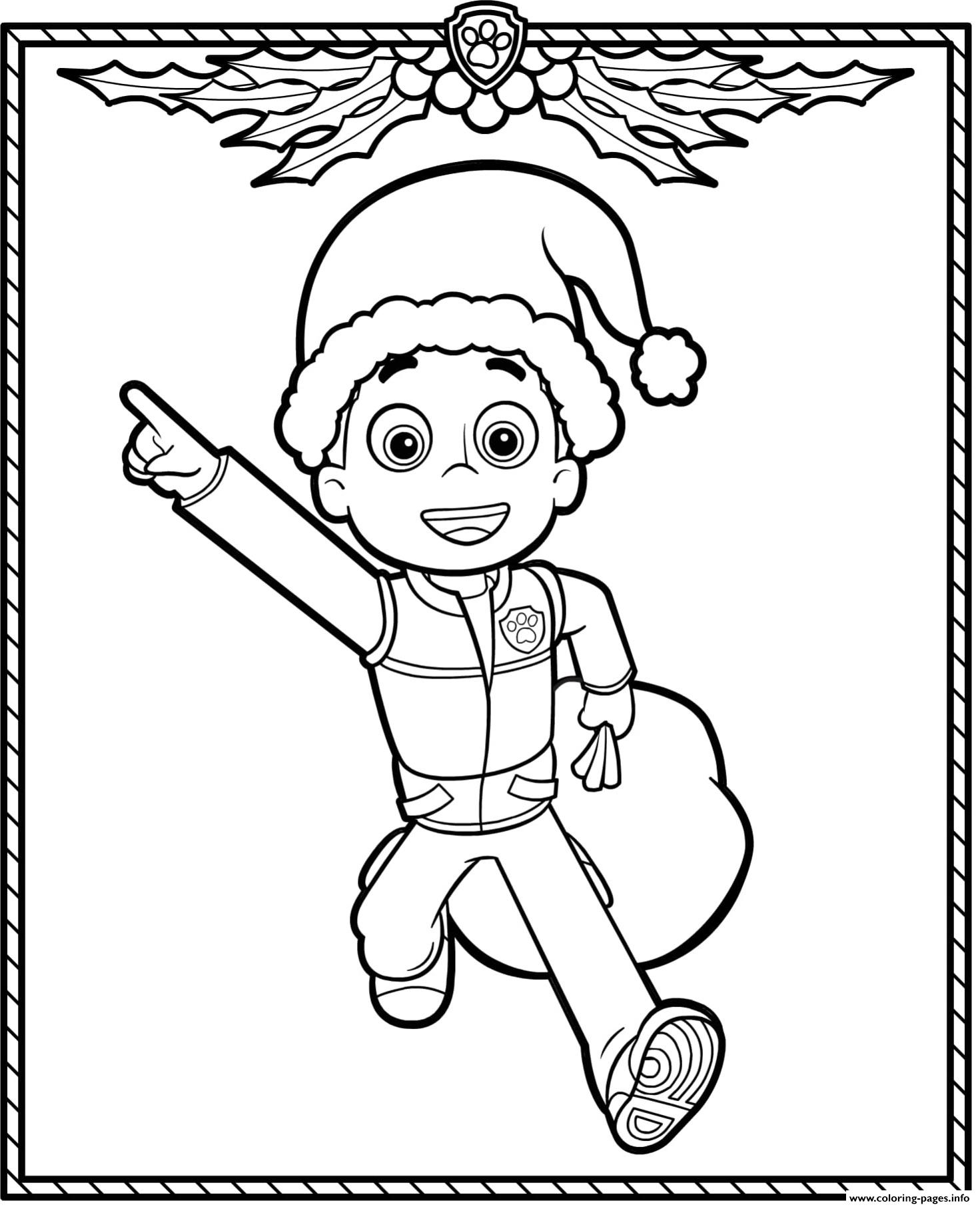 Coloring Pages : Paw Patrol Holiday Christmas Ryder Coloring ...