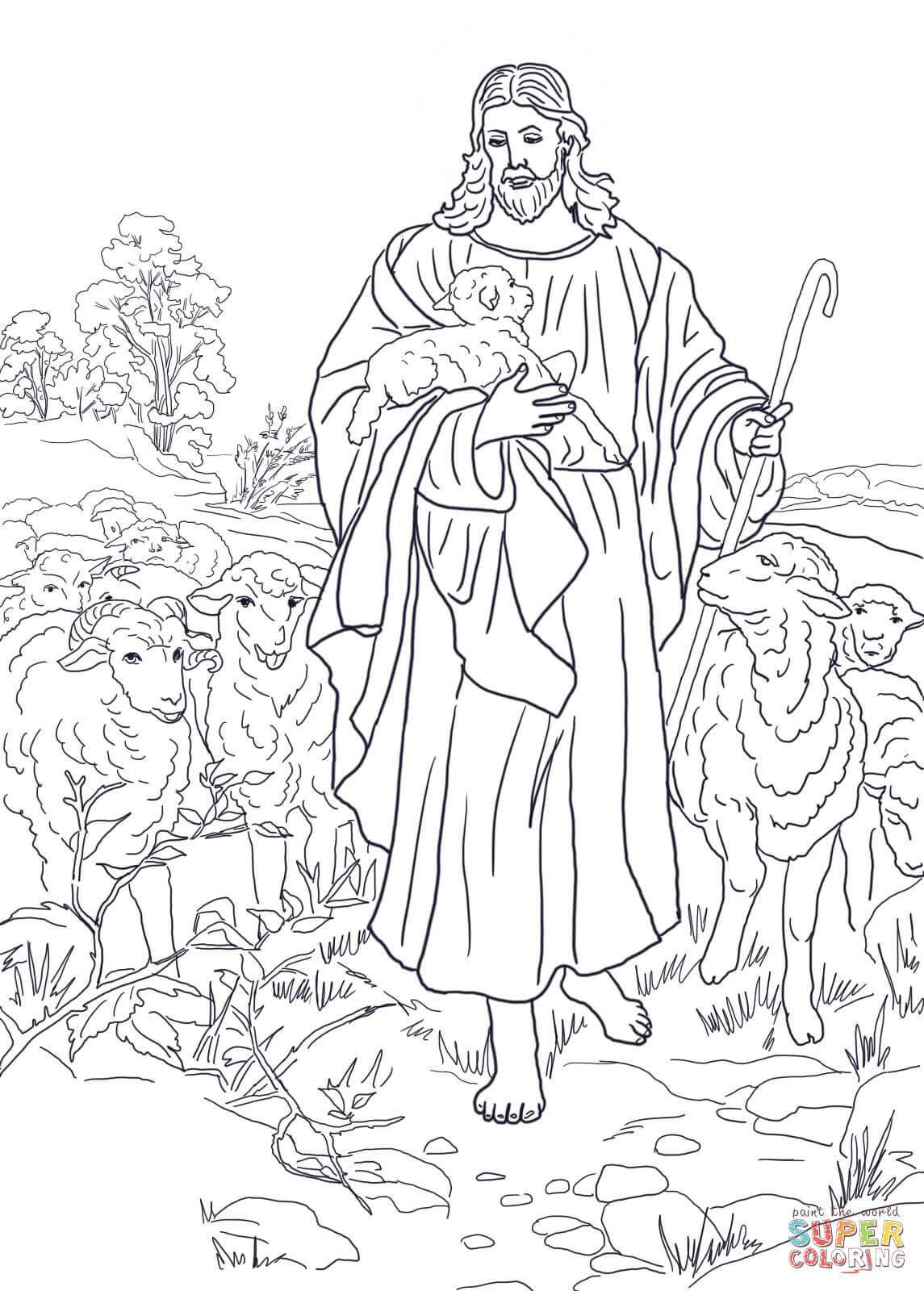 Jesus is the Good Shepherd coloring page | Free Printable Coloring ...