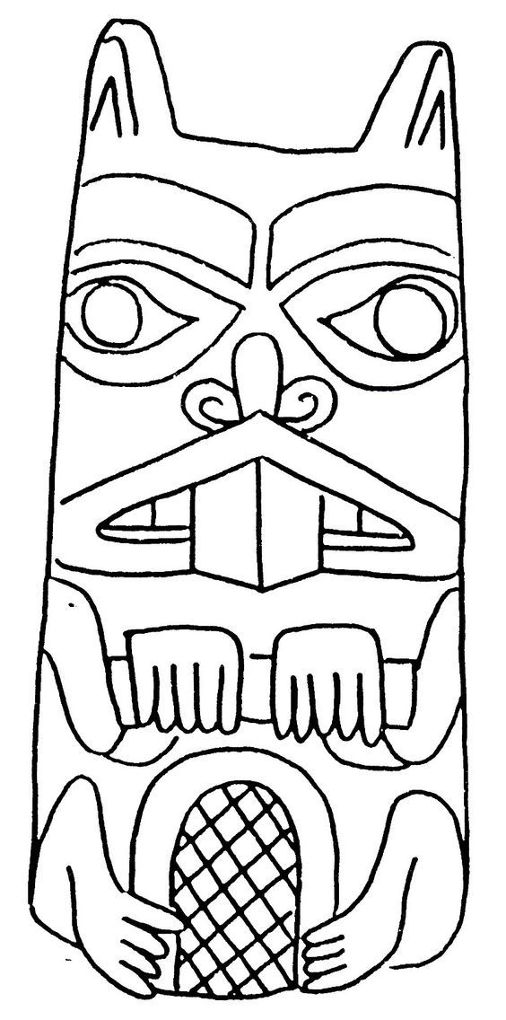 Coloring Beaver totem - Coloring pages | carving | Pinterest ...