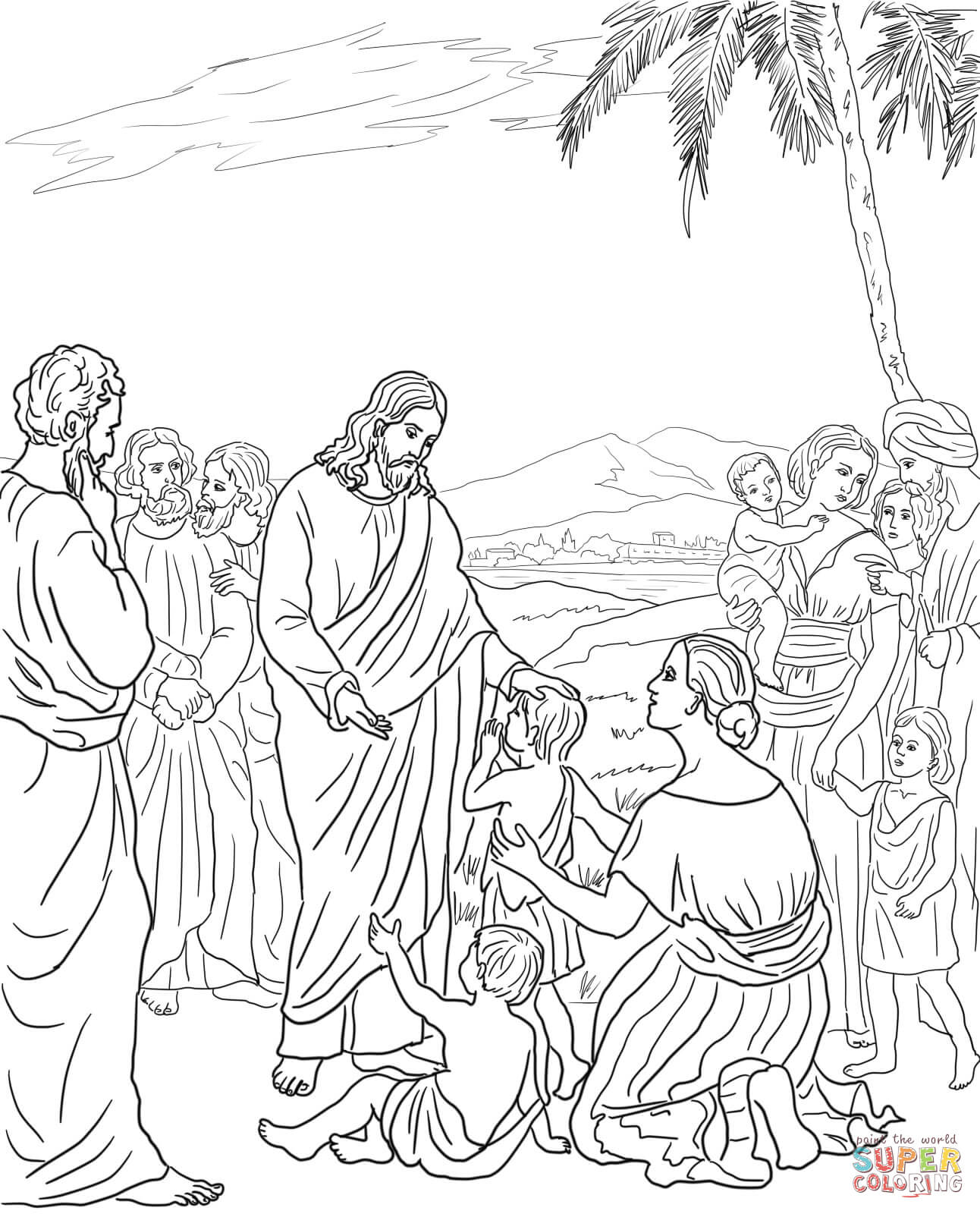 Coloring Pages Jesus And The Children Coloring Pages jesus with little children coloring page az pages blesses the free printable coloring