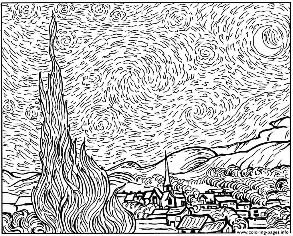 van gogh starry night coloring page - Van Gogh Coloring Book
