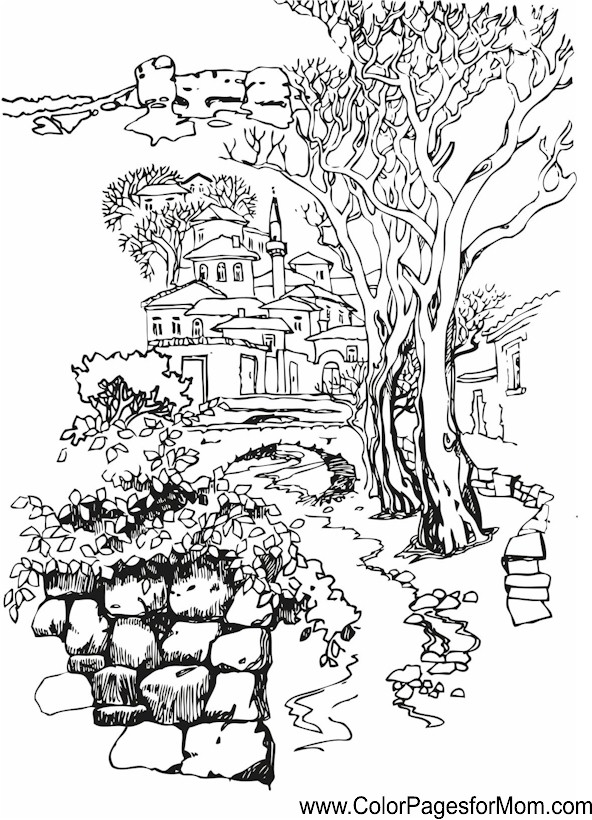 Landscape Coloring Page For Adults