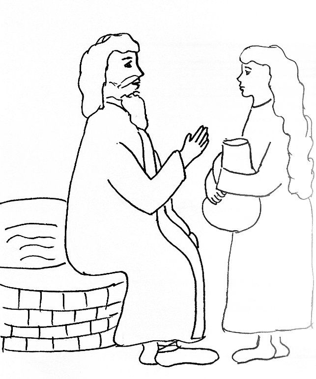 Bible Story Coloring Page For Jesus And The Woman At Well